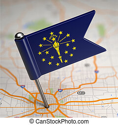 Indiana Small Flag on a Map Background. - Small Flag of...