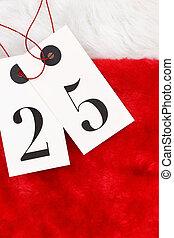 Number twenty five on tags on santas fur
