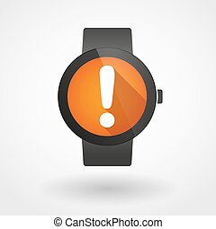 Smart watch displaying an exclamation sign