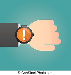 Hand wearing a smart watch displaying an exclamation sign