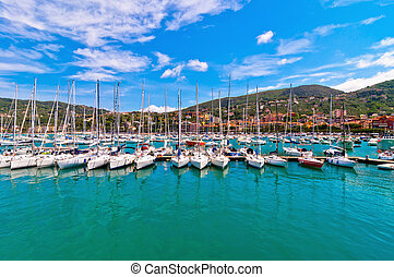 harbour and town of Lerici in summer - Lerici, Italy - June...
