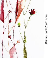 flowers - watercolor painting of flowers with copy space,...