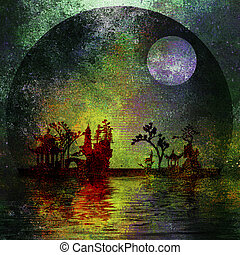 Asia Landscape Textured Painting