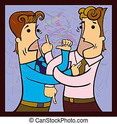 Disputing people - Two men with intertwined hands loudly...