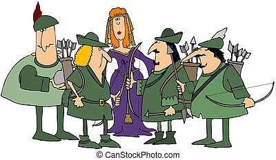 Robin Hood & His Merry Men - This illustration depicts Robin...