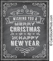 Vector Christmas Chalkboard Greeting Card - Vector Christmas...