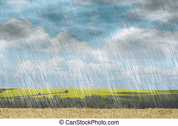 rain storm in cloudy weather on landscape nature backgrounds
