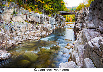 The Swift River at Rocky Gorge, on the Kancamagus Highway, in Wh