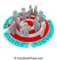 Target Customers - Red Target - Several customers stand on a...