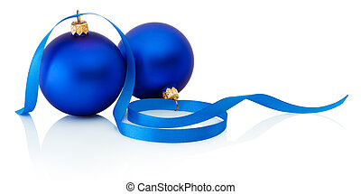 Two blue christmas balls and ribbon Isolated on white...