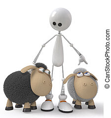 The 3D little man with sheeps - 3d St. Valentine's Day is...