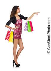 mulher, com, shopping, sacolas, isolado, ligado, branca,