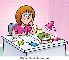Girl working On Homework - Cartoon illustration of a preteen...