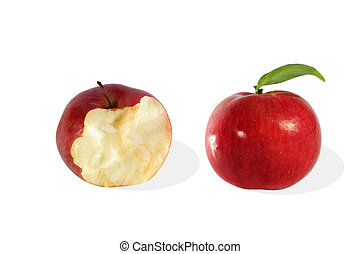 Whole and bitten off apple on white background