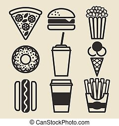 Fast food icons set - vector illustration. eps 10