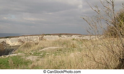 View from Mangup plateau of the mountain scenery in Crimea pan shot