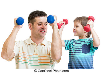 daddy and kid son doing exercise with dumbbells together -...