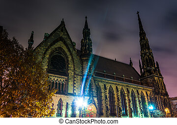 Mount Vernon Place United Methodist Church at night in...