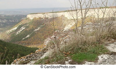 View of the mountain landscape from Mangup plateau in Crimea pan shot