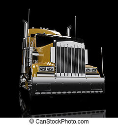 Yellow heavy truck isolated on black background