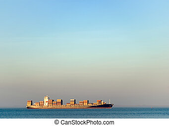 container transportation - loaded ship transporting...