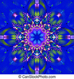 Symmetrical fractal pattern with shiny strips. Collection -...