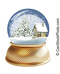 3D render of snow globe with clipping path - 3D render of...
