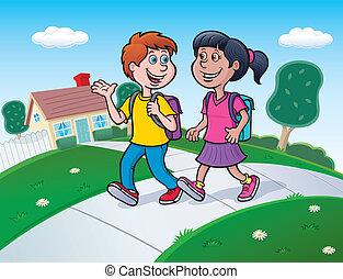 Two Kids Walking To School - Cartoon illustration of a boy...