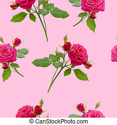 floral red rose seamless pattern on pink background