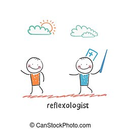 reflexologist with a needle catches patient Fun cartoon...