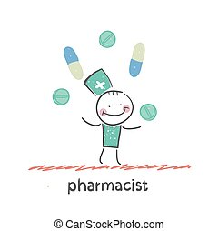 pharmacist. Fun cartoon style illustration. The situation of...