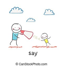 say. Fun cartoon style illustration. The situation of life.