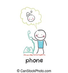 phone Fun cartoon style illustration The situation of life...