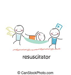 resuscitator carry on a stretcher patient. Fun cartoon style...