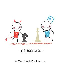 resuscitator plays chess with the devil Fun cartoon style...