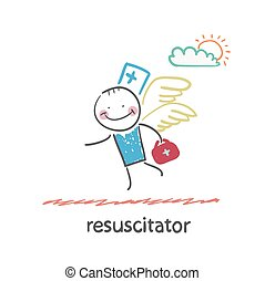 resuscitator flies to the patient Fun cartoon style...