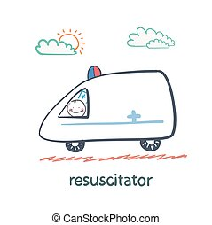 resuscitator rides in the ambulance. Fun cartoon style...