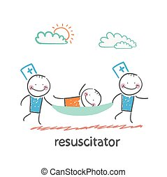 resuscitator carry on a stretcher patient Fun cartoon style...
