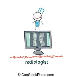 Radiologist with X-ray images. Fun cartoon style...