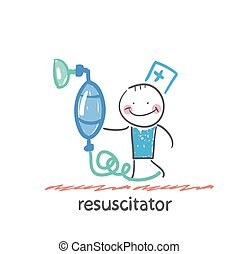 resuscitation with oxygen mask Fun cartoon style...