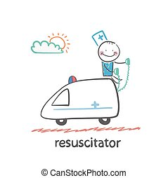 resuscitator rides in the ambulance Fun cartoon style...