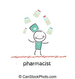 pharmacist Fun cartoon style illustration The situation of...