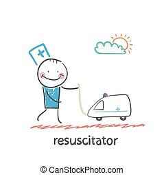 resuscitator played with toy ambulance. Fun cartoon style...