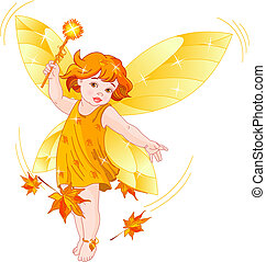 Autumn baby fairy - Vector illustration of a Autumn baby...