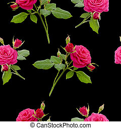 floral red rose seamless pattern on black background