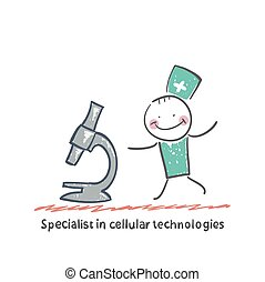 Specialist in cellular technologies looks looks through a...