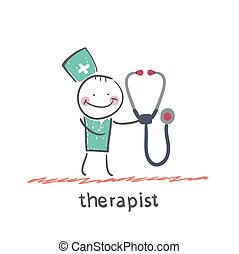 therapist with tetoskopom Fun cartoon style illustration The...