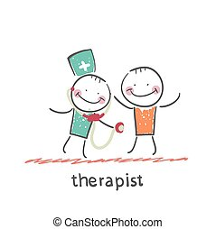 therapist listens to a stethoscope patient Fun cartoon style...