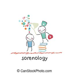 somnology standing on a pile of books and dreams of catching...
