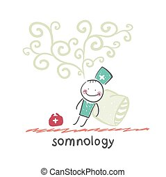somnology fell asleep and he dreams. Fun cartoon style...